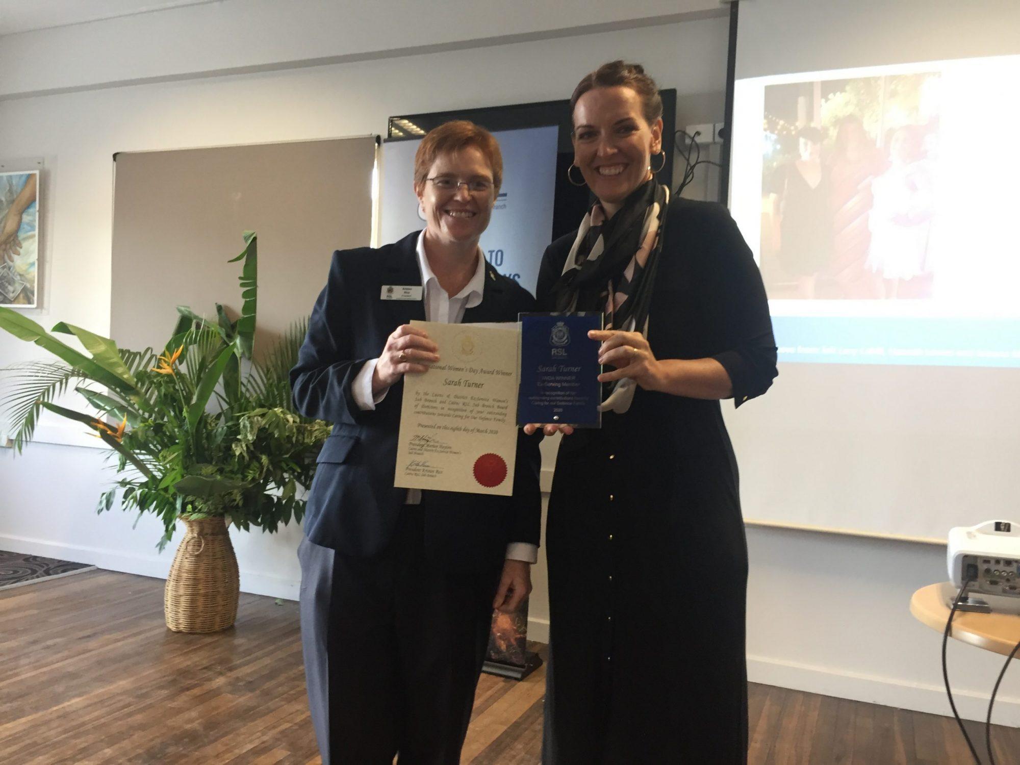 President Kristen Rice and Award Winner Sarah Turner
