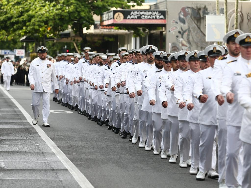 HMAS Cairns had a large contingent of marchers(1)