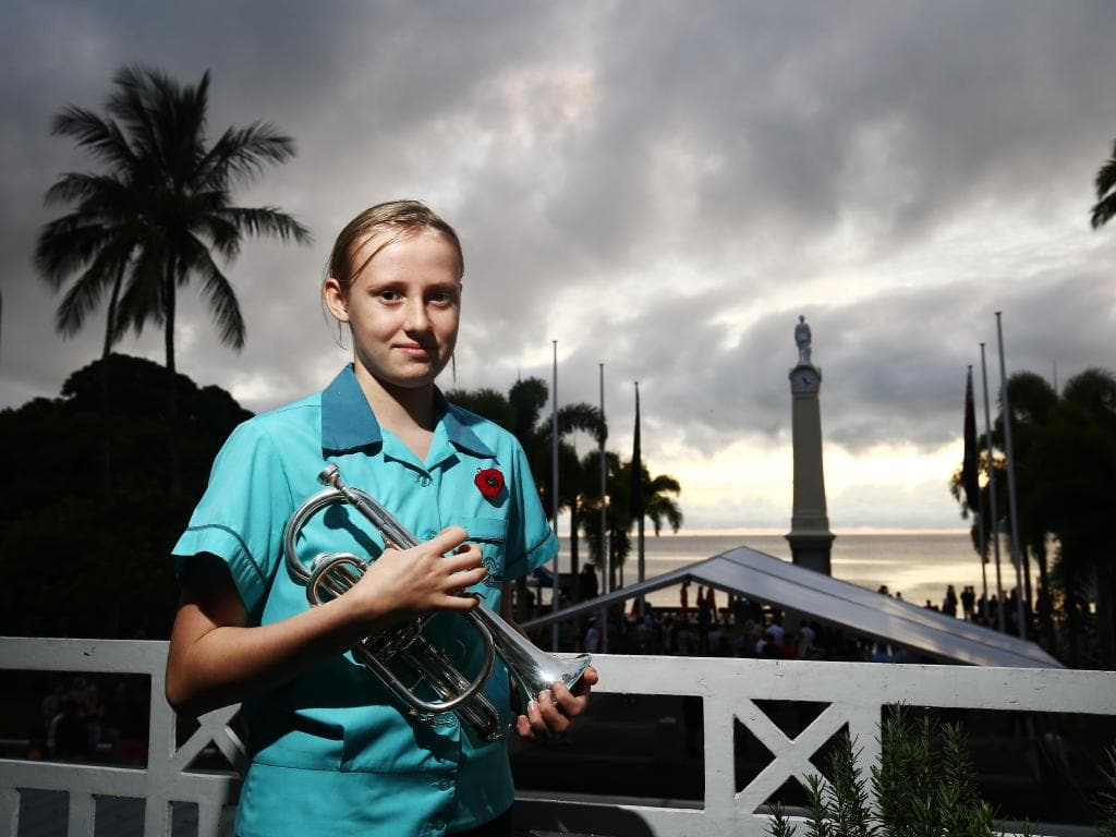 St Andrew's student Olivia Stein became the youngest bugler to perform at a dawn service