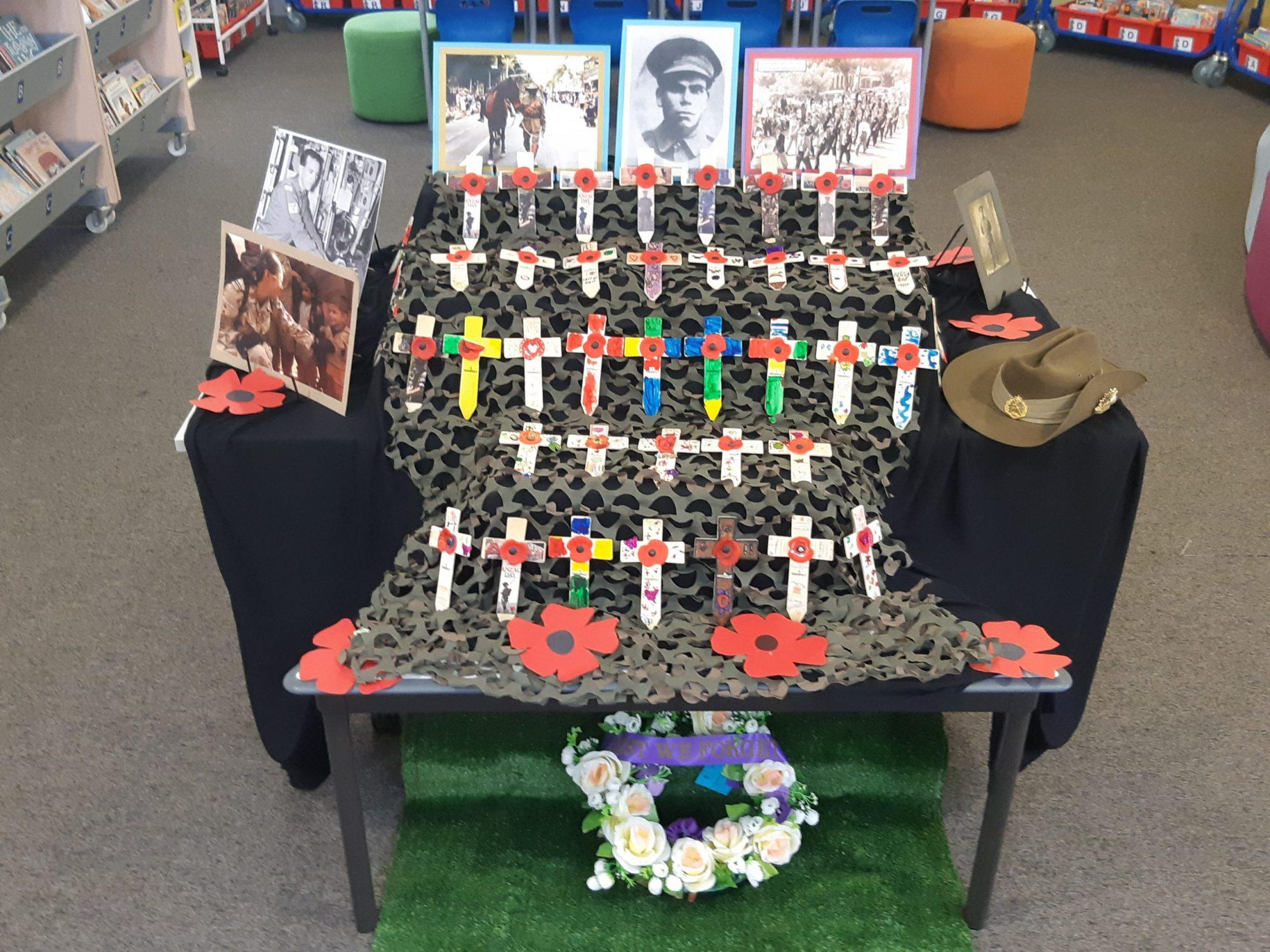 Photo courtesy of Heather Cochrane: Our Lady of Help Christian School ANZAC Day display