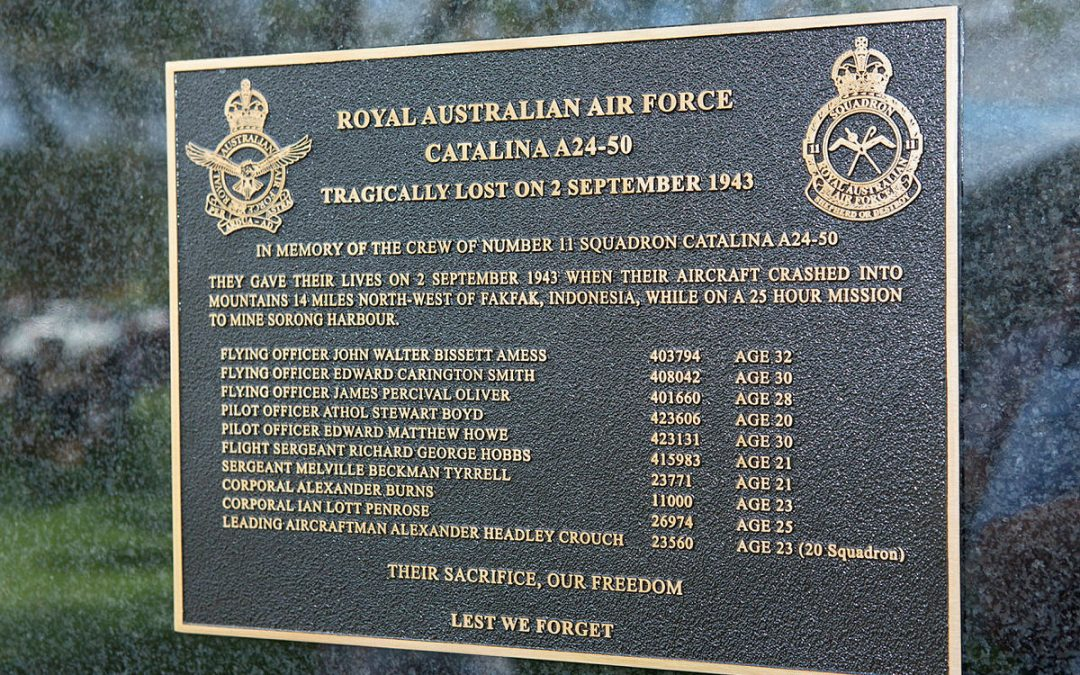 Commemorating the Crew of the Number 11 Squadron, Catalina A24-50
